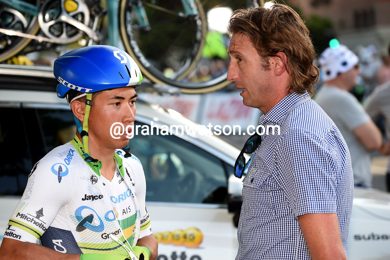 Caleb Ewan and Matthew White at the 2016 Peoples Choice Classic