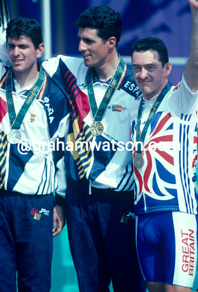 Chris Boardman with Indurain and OLano at the 1996 Olympic Games