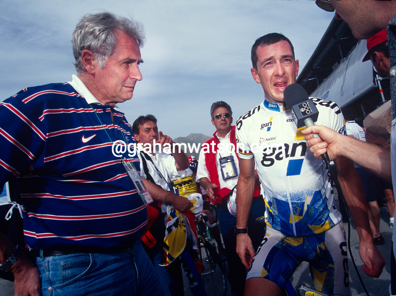 Chris Boardman with David Duffield in the 1996 Tour de France