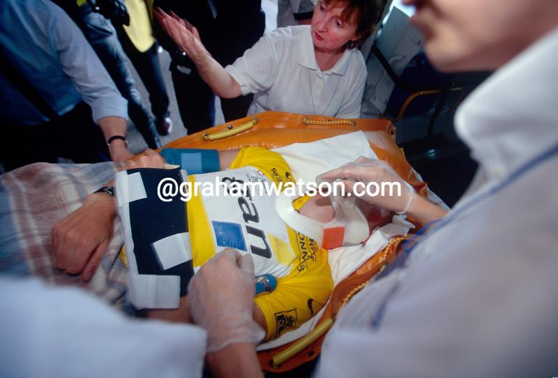 Chris Boardman after a crash n the 1998 Tour de France