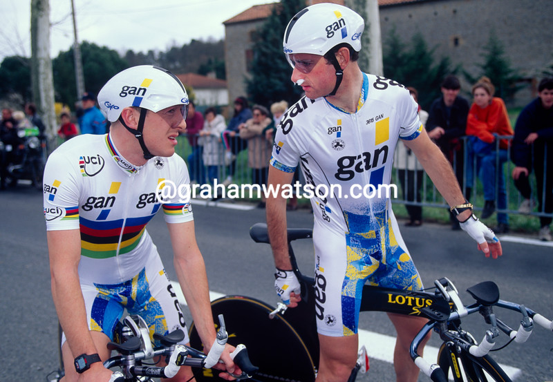 Chris Boardman and Pascal Lance in the 1995 Criterium International