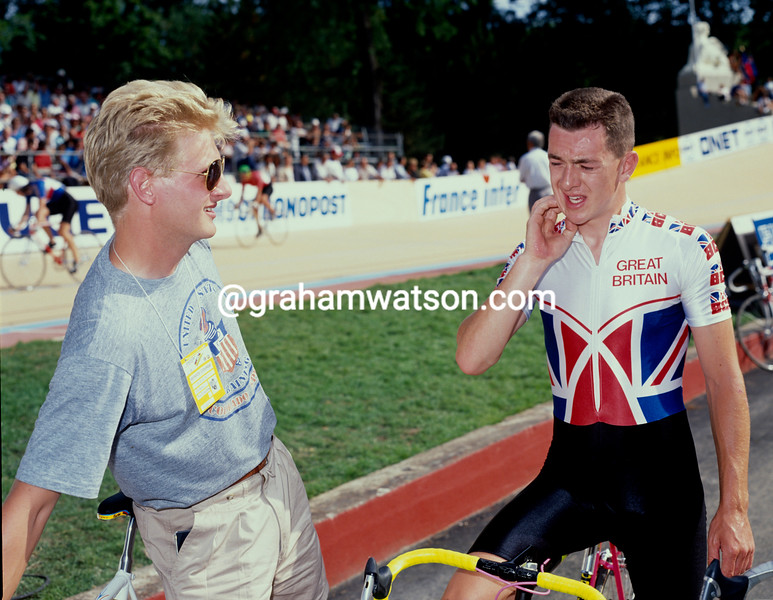 Peter Keen and Chris Boardman at the 1989 World Track Championships