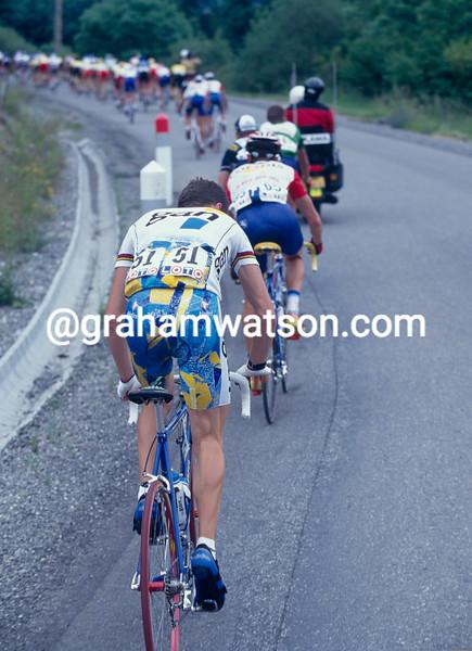 Chris Boardman struggles in the 1997 Dauphine-Libere