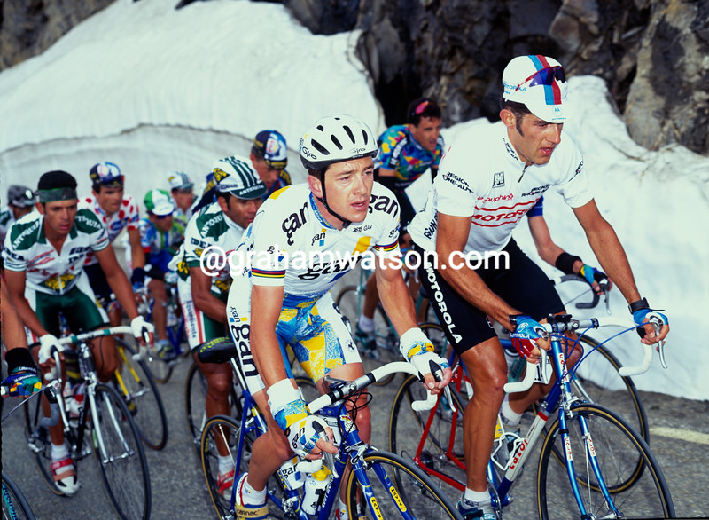 Chris Boardman and Andrea Peron in the 1995 Dauphine-Libere