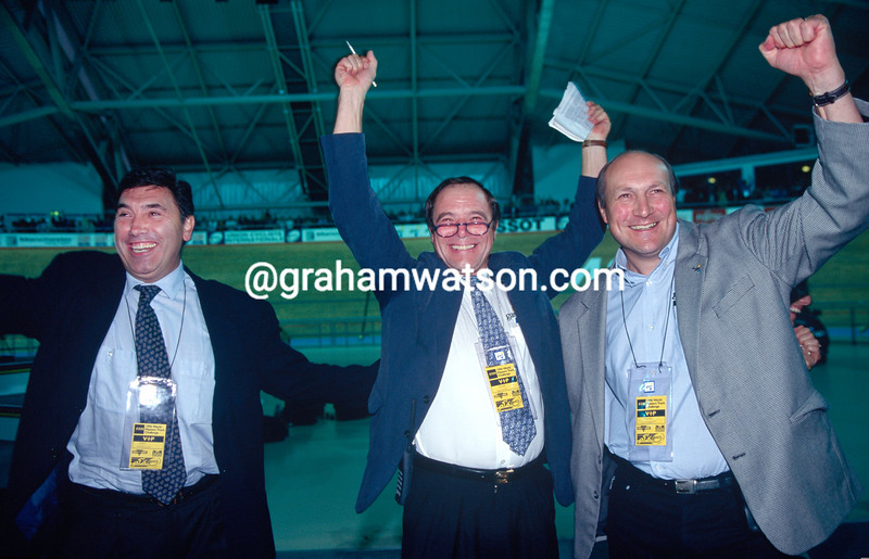 Eddy Merckx cheers the Hour Record succcess of Chris Boardman in 2000 with Roger Lejeay and Michel Laurent