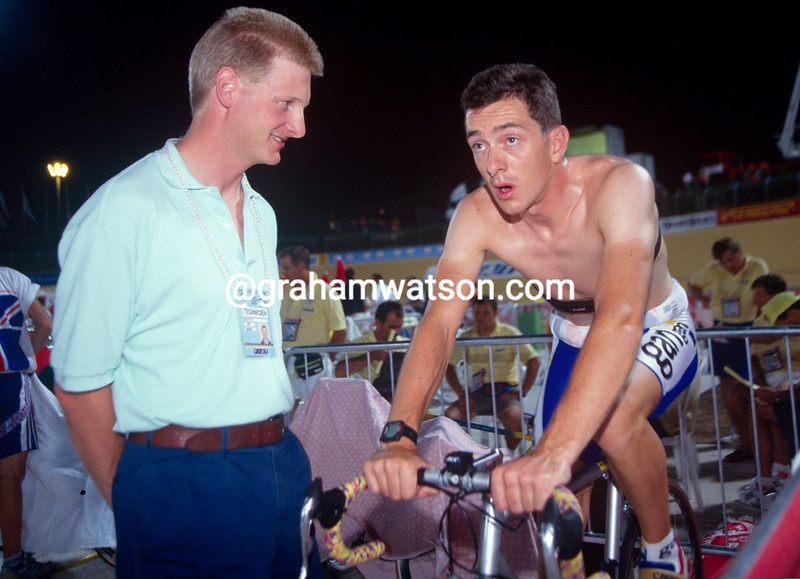 Chris Boardman with Peter Keen in the 1995 World Track Championship