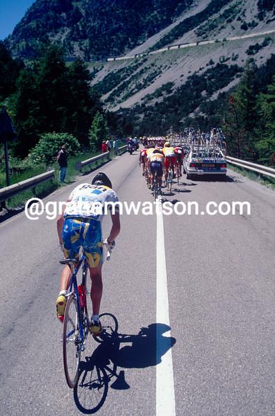Chris Boardman is dropped on the Col de Montgenevre in the 1996 Tour de France