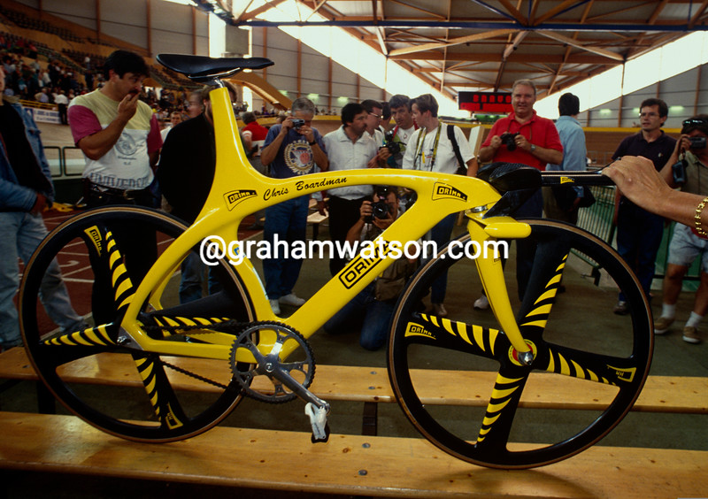The bicycle used by Chris Boardman at his 1993 Hour record attemot