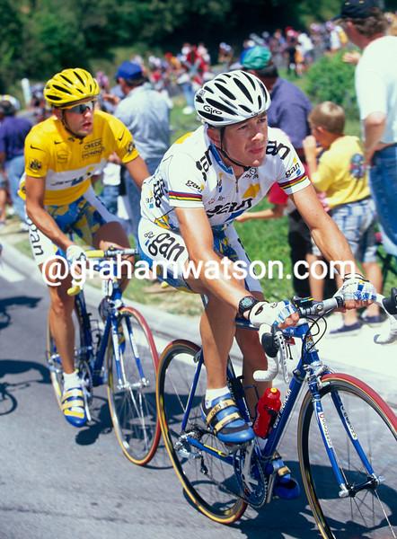 Chris Boardman with Cedric Vasseur in the 1997 Tour de France
