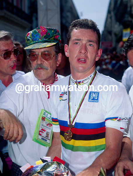Chris Boardman after winning the 1994 World Time TRial Championship