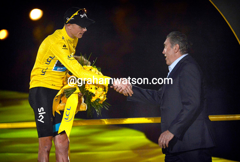 Chris Froome and Eddy Merckx on stage twenty one of the 2013 Tour de France