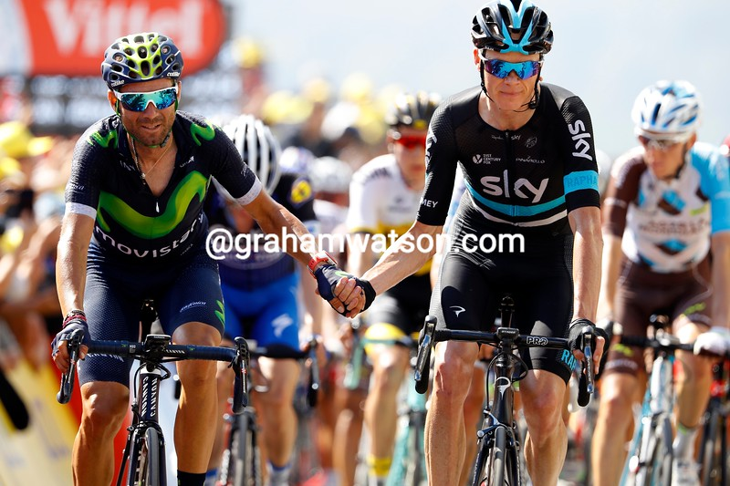 Chris Froome and Alejandro Valverde on stage 7 of the 2016 Tour de France