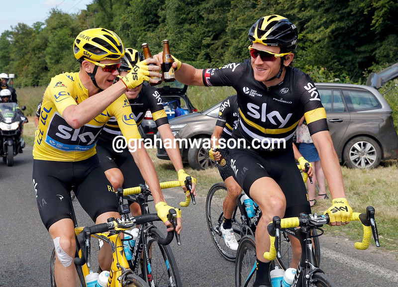 Chris Froome and Geraint Thomas celebrate with a beer  during Stage 21 of the 2016 Tour de France