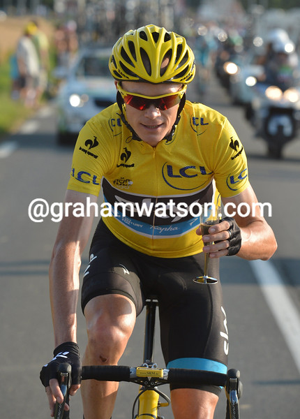Chris Froome on stage twenty one of the 2013 Tour de France