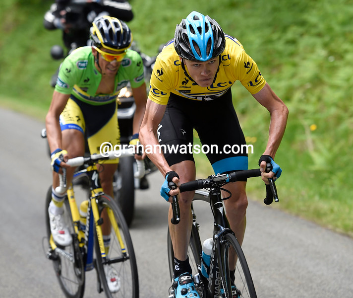Chris Froome attacks Contador on stage two of the 2014 Dauphine-Libere