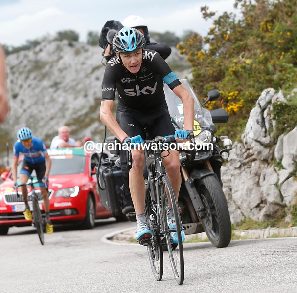 Chris Froome on stage fifteen of the 2014 Tour of Spain