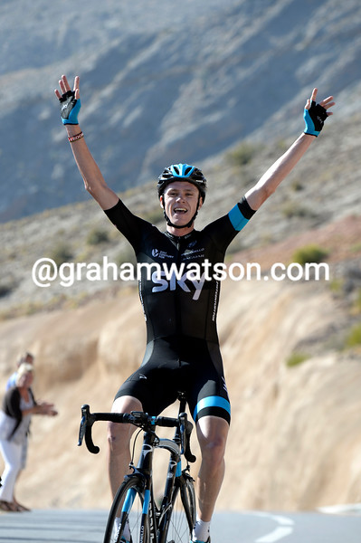 Chris Froome wins stage five with ease, 22-seconds ahead of Van Garderen... (Tour of Oman, February 2014)