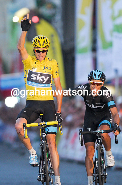 Chris Froome wins the 'na tour' criterium in Alost, Belgium