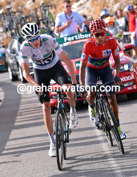 Chris Froome and Nairo Quintana on stage 20 of the 2016 Vuelta a España