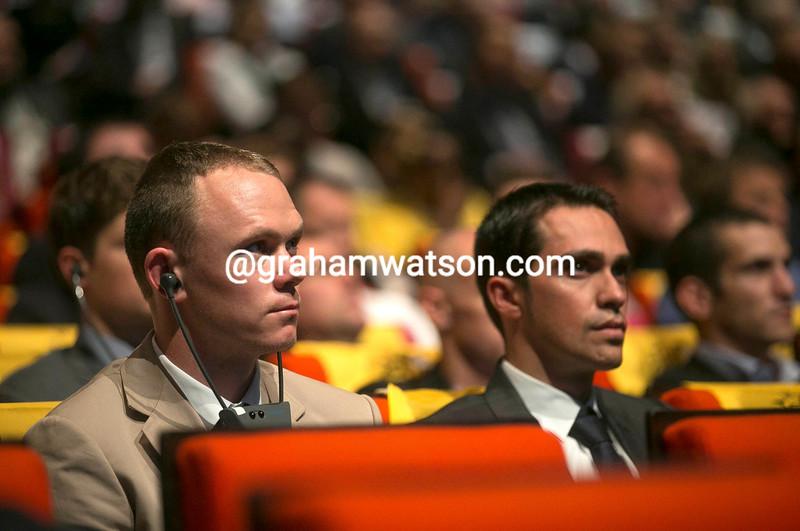 Chris Froome and Alberto Contador at the 2014 Tour de France presentation