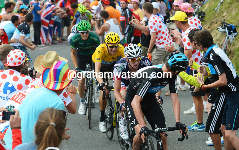 Chris Froome attacks on stage seventeen of the 2012 Tour de France