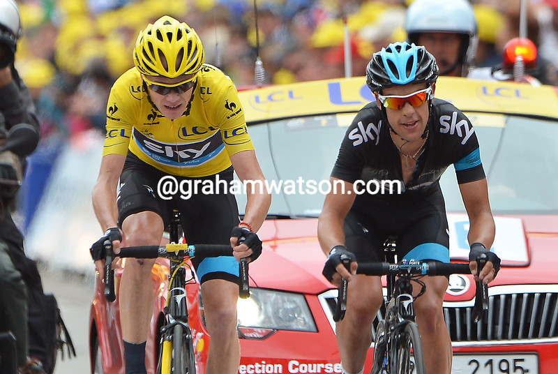 Chris Froome and Richie Porte on stage eighteen of the 2013 Tour de France