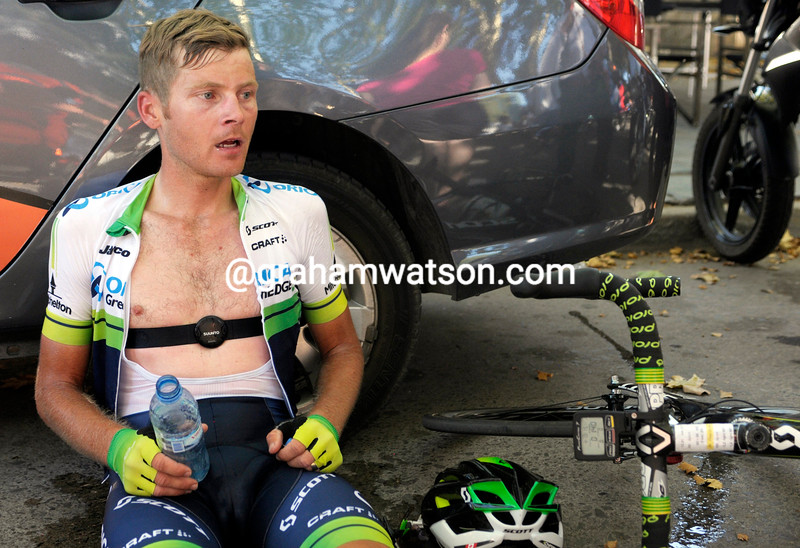 Christian Meier  recovers after a stage of the 2014 Tour de San Luis