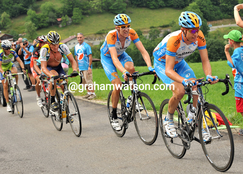 CHRISTIAN VANDE VELDE LEADS BRADLEY WIGGINS AND LANCE ARMSTRONG ON STAGE SEVENTEEN OF THE 2009 TOUR DE FRANCE