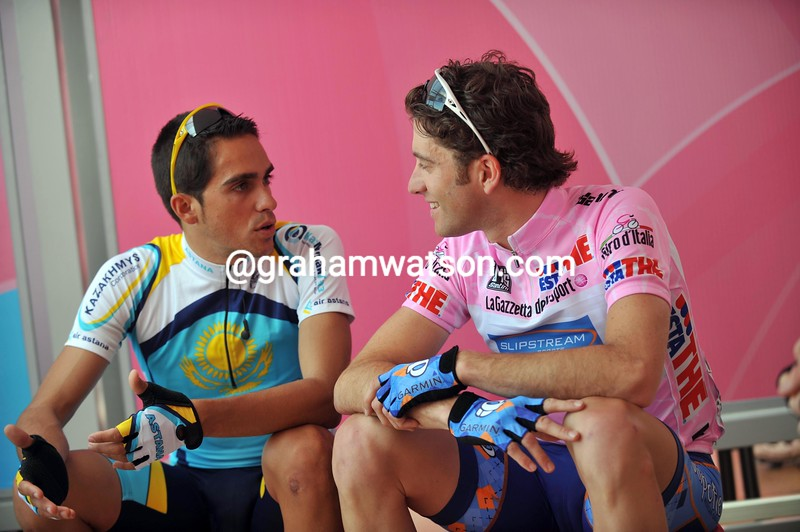 CHRISTIAN VANDEVELDE AND ALBERTO CONTADOR ON STAGE TWO OF THE 2008 GIRO D'ITALIA