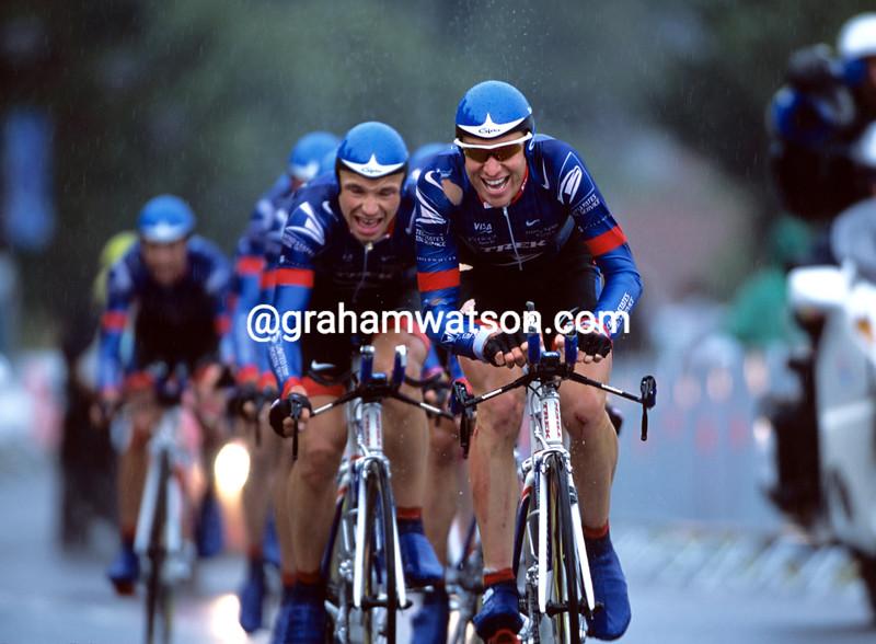 Christian Vande Velde leads US Postal in the 2001 Tour de France