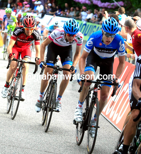 Christian Vande Velde and Peter Stetina on stage seven of the 2012 Giro d'Italia