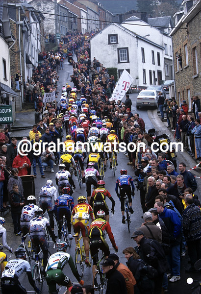 Cyclists in the 1995 Liege-Bastogne-Liege