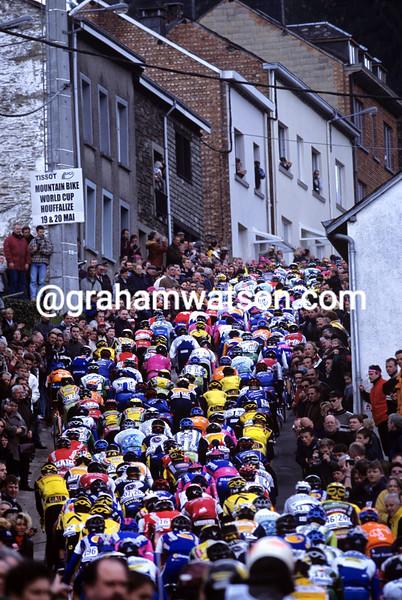 cyclists climb the Cote de Saint-Roche in Liege-Bastogne-Liege
