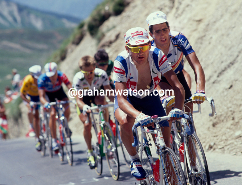 Claudio Chiappucci leads Miguel Indurain in the 1991 Tour de France
