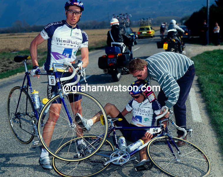 A crash in a stage of the 1991 Paris-Nice involved Marty Jemison (left) and Atle Kvallssvoll
