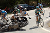 SERGIO PAULINHO AND TOM DANIELSON SWERVE TO AVOID A MOTORBIKE CRASHING ON STAGE SEVENTEEN OF THE TOUR OF SPAIN