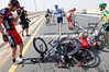 A crash in the peloton on stage one of the 2012 Tour of Qatar