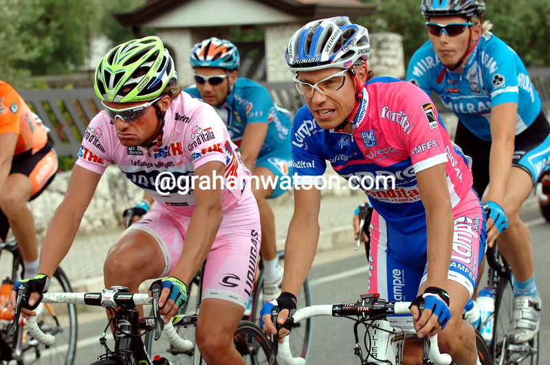 DANILO DI LUCA AND DAMIANO CUNEGO ON STAGE FIVE OF THE 2007 GIRO D'ITALIA