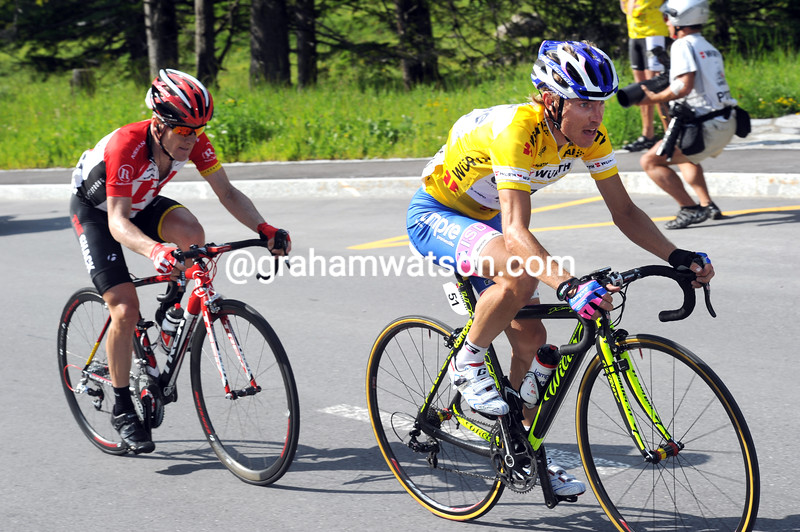 DAMIANO CUNEGO AND LEVI LEIPHEIMER ON STAGE SIX OF THE 2011 TOUR DE SUISSE