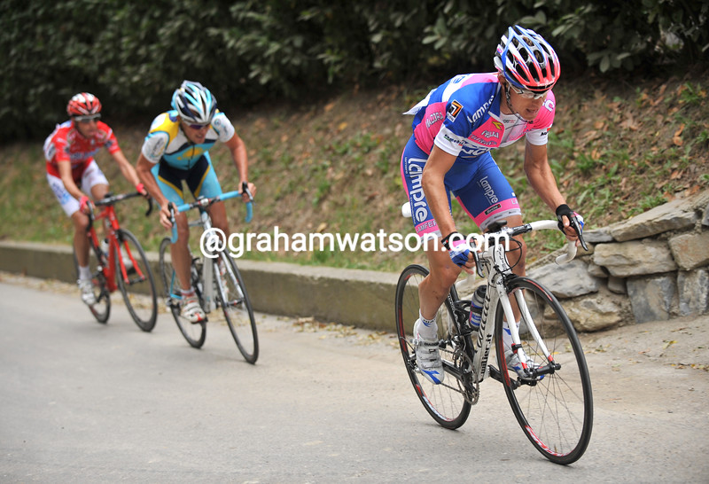 DAMINO CUNEGO MAKES THE WINNING ATTACK IN THE 2008 TOUR OF LOMBARDY