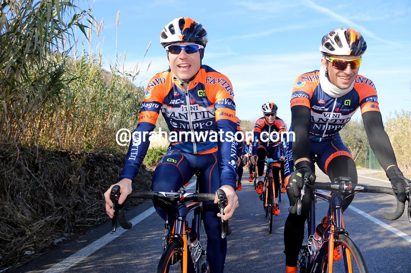 Damino Cunego and Antonio Nibali at the Vini Fantini training camp in 2015
