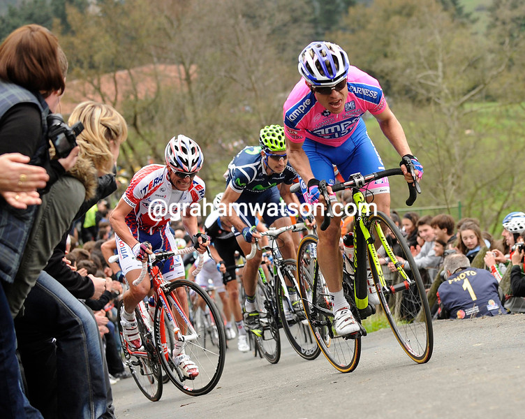DAMIANO CUNEGO ON STAGE ONE OF THE 2011 TOUR OF THE BASQUE COUNTRY