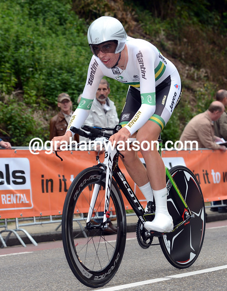 Damien Howson in the mens U-23 time trial championships in 2012