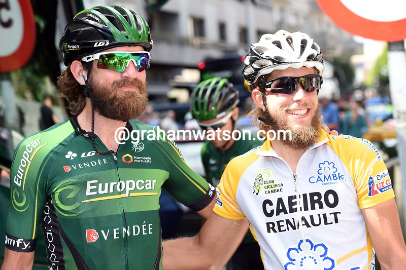 Dan Craven with a fan on stage eighteen of the 2014 Tour of Spain