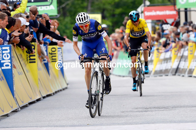 Dan Martin finishes ahead of Chris Froome in the 2016 Dauphine Libere