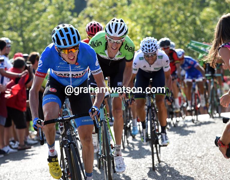 Dan Martin attacks in the 2014 Tour of Spain