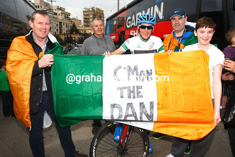 Dan Martin pictured with fans at the 2013 Tour of Catalonia