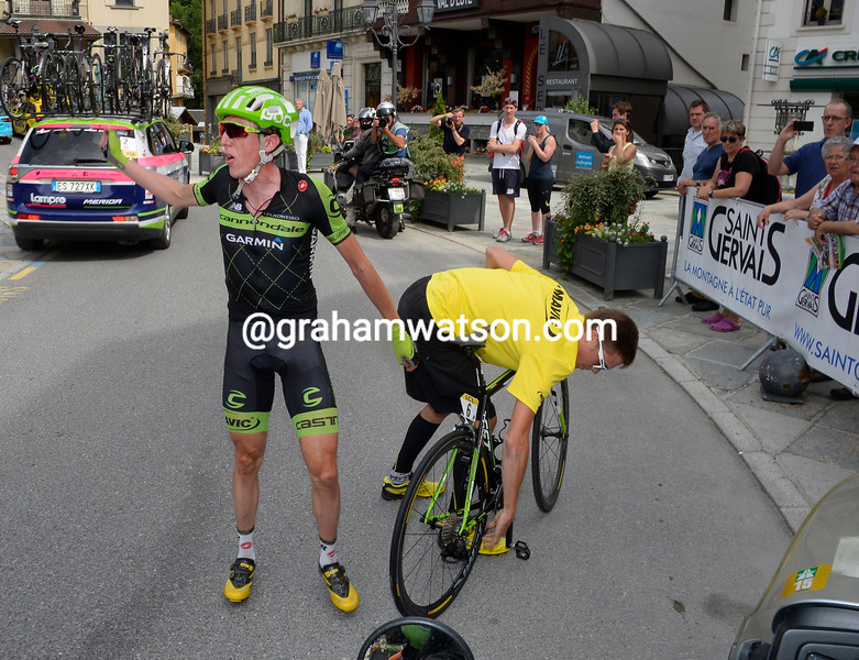 Dan Martin after a crash in the 2015 Dauphine Libere