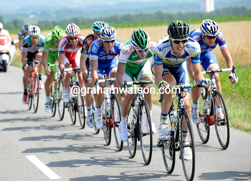 Daryl Impey leads an escape on stage fifteen of the 2013 Tour de France