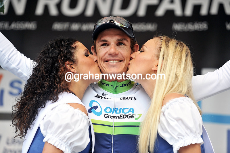 Daryl Impey on the podium after winning stage 3 of the 2014 Bayern Rundfahrt